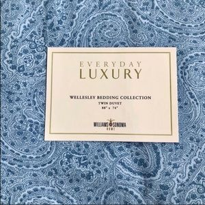 Twin Duvet Williams Sonoma Home Blue Paisley NEW